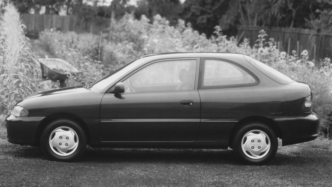 A faded photo of an old Hyundai Accent.