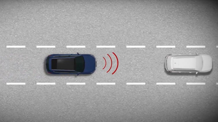 A graphic showing adaptive cruise control.