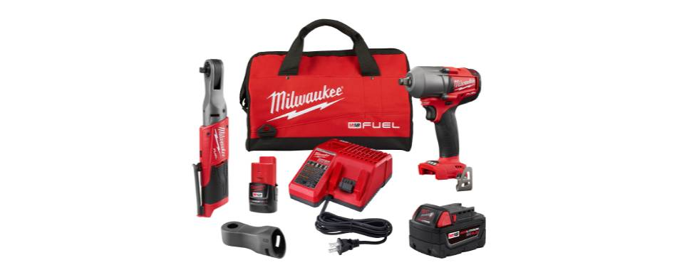 Milwaukee M18 FUEL Mid-Torque Impact Wrench and M12 FUEL 3/8in. Ratchet Combo Kit