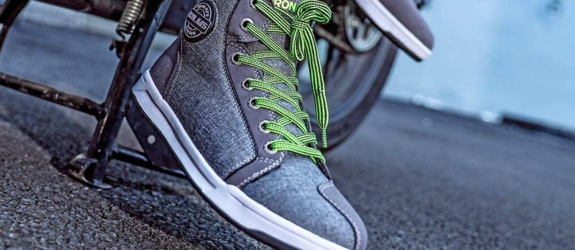 Close view of motorcycle shoes