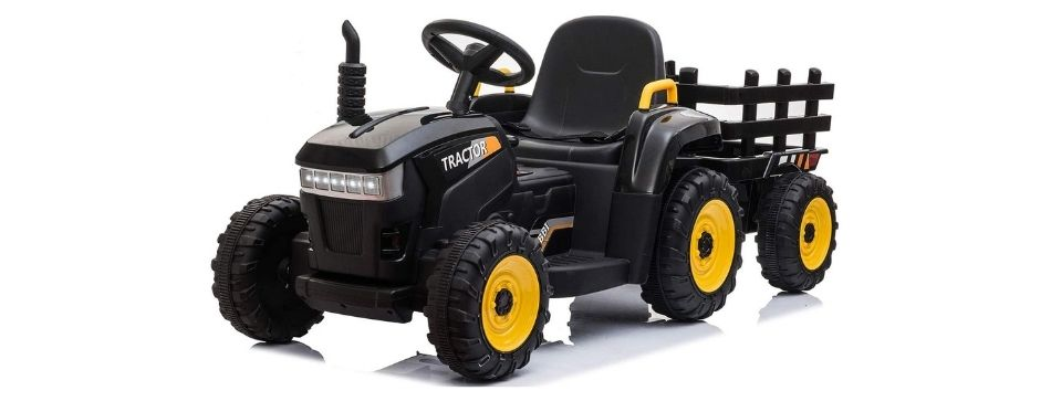 Tobbi 12v Battery-Powered Toy Tractor with Trailer