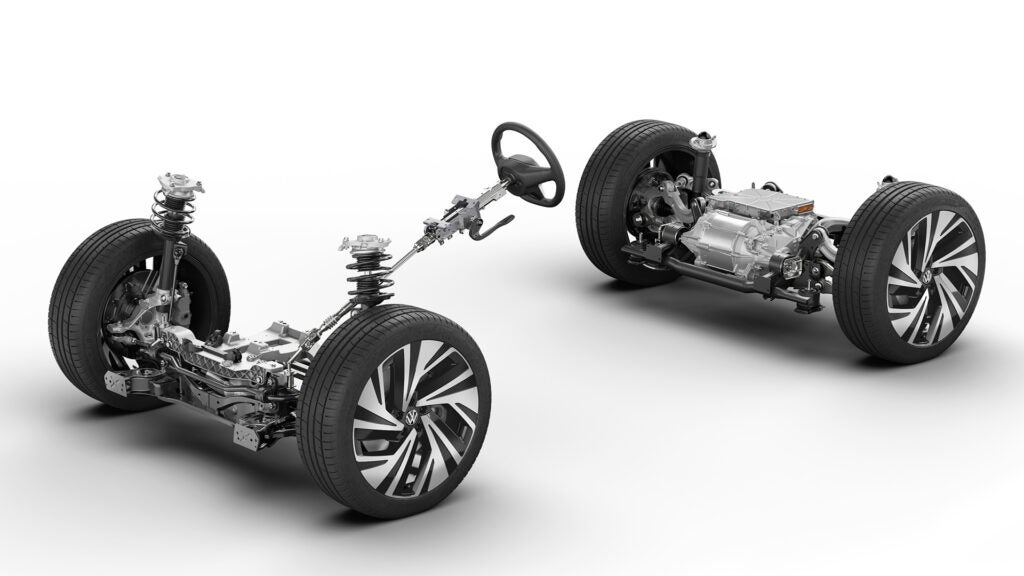 A VW electric drivetrain on a white background.