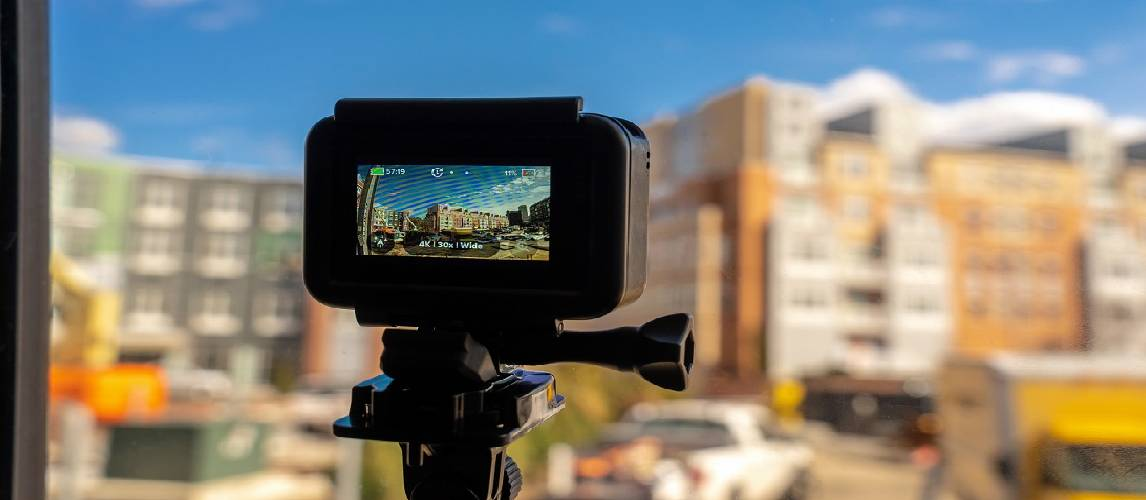 Action camera is taking a picture the city outdoor