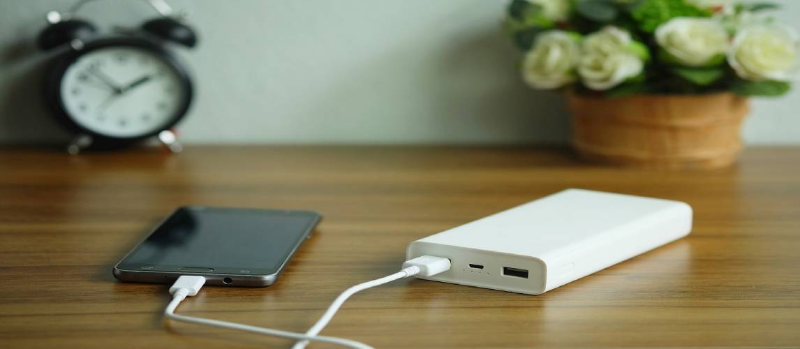 Smartphone is charging with backup battery