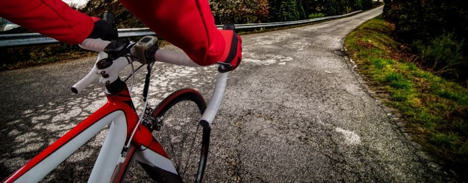 Cyclist ride a bike with road tires
