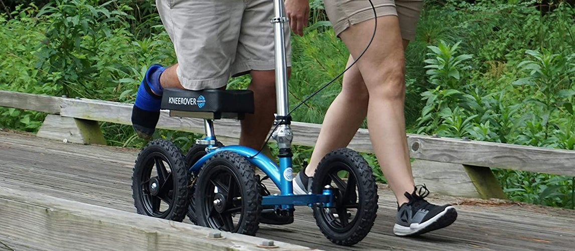 taking a ride on the nature using knee scooters