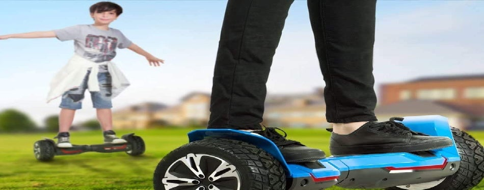 Riding a hoverboard