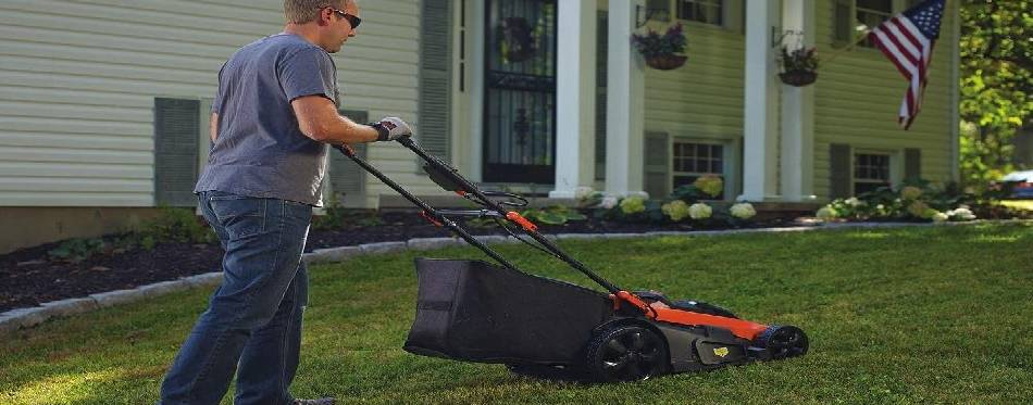 Worker is using a lawn mower for mowing the grass