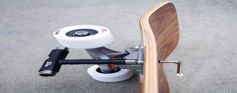 The longboard is prepared for changing a bearing