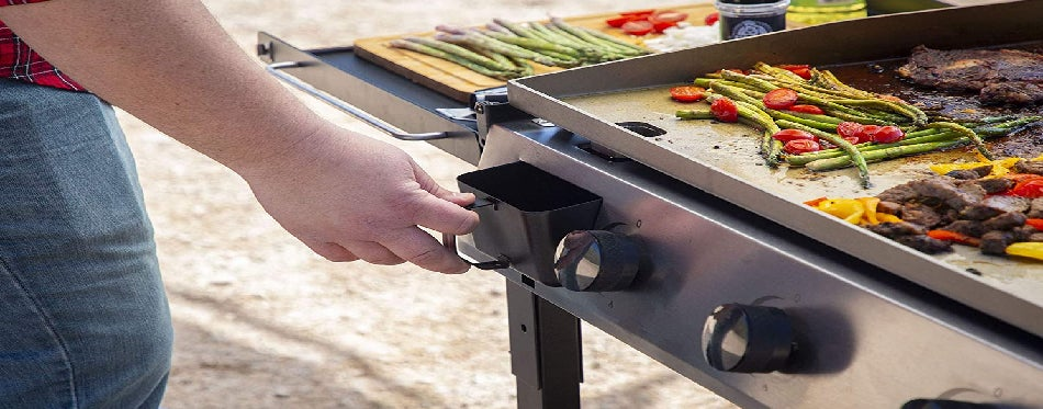 Grilling food outdoors