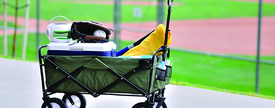 using collapsible wagons to carry sport accessories
