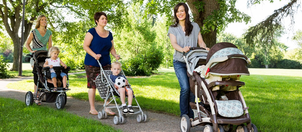 Mothers With Best Jogger Strollers Walking In Park