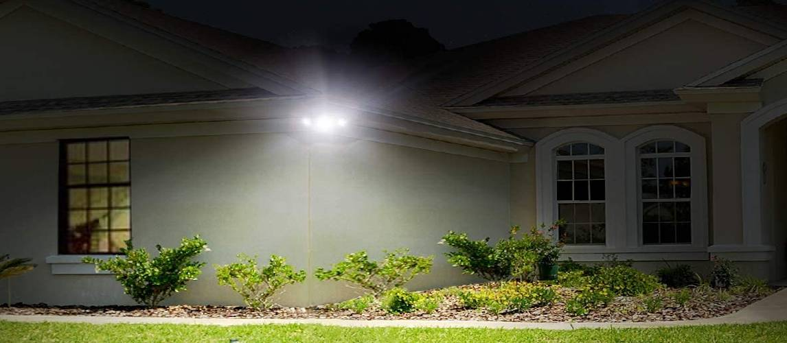 Flood light attached to the house