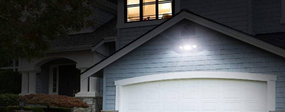 Flood light attached on the garage