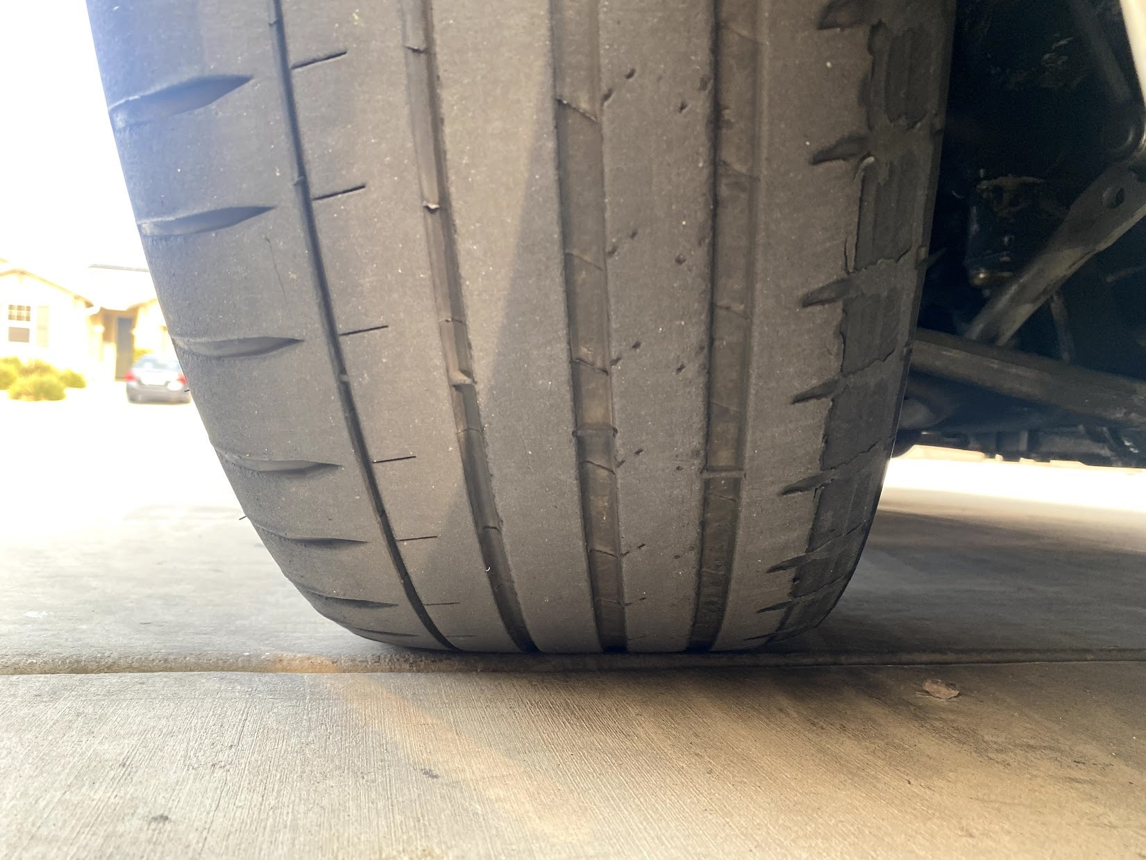 Front shot of delaminated Michelin tire