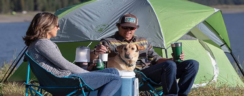 Camping with a dog on the lake