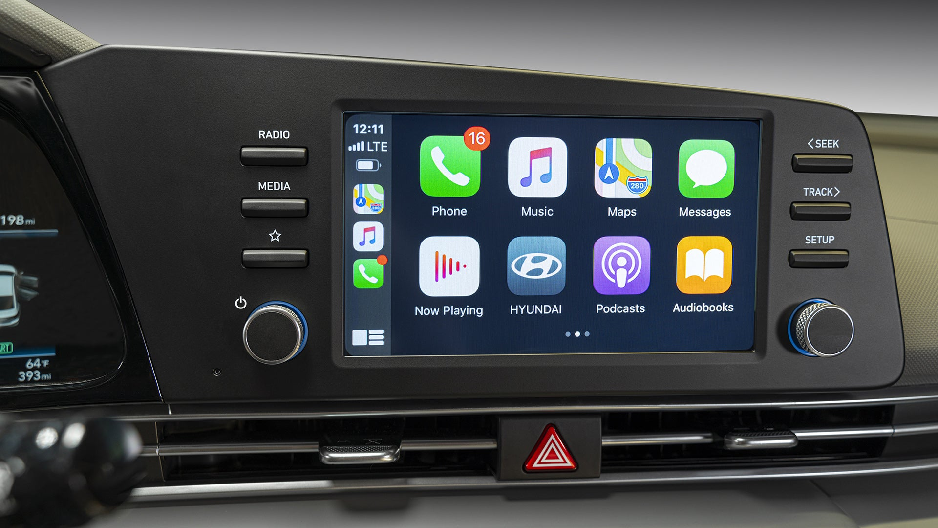 Apple CarPlay on a digital touchscreen.