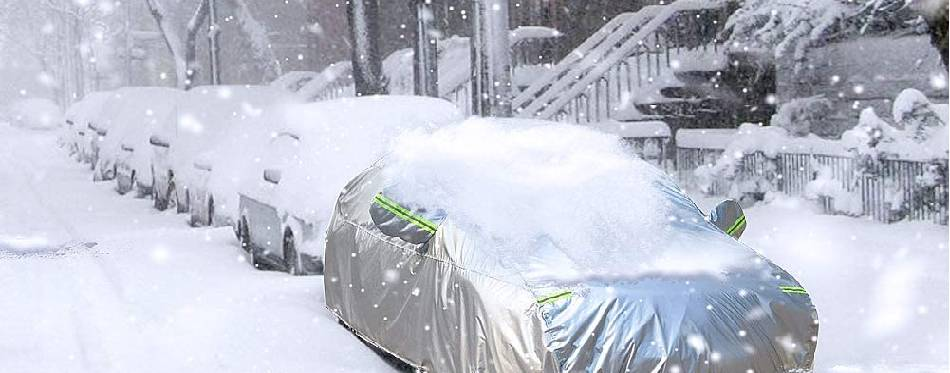 SUV protected at the snow weather