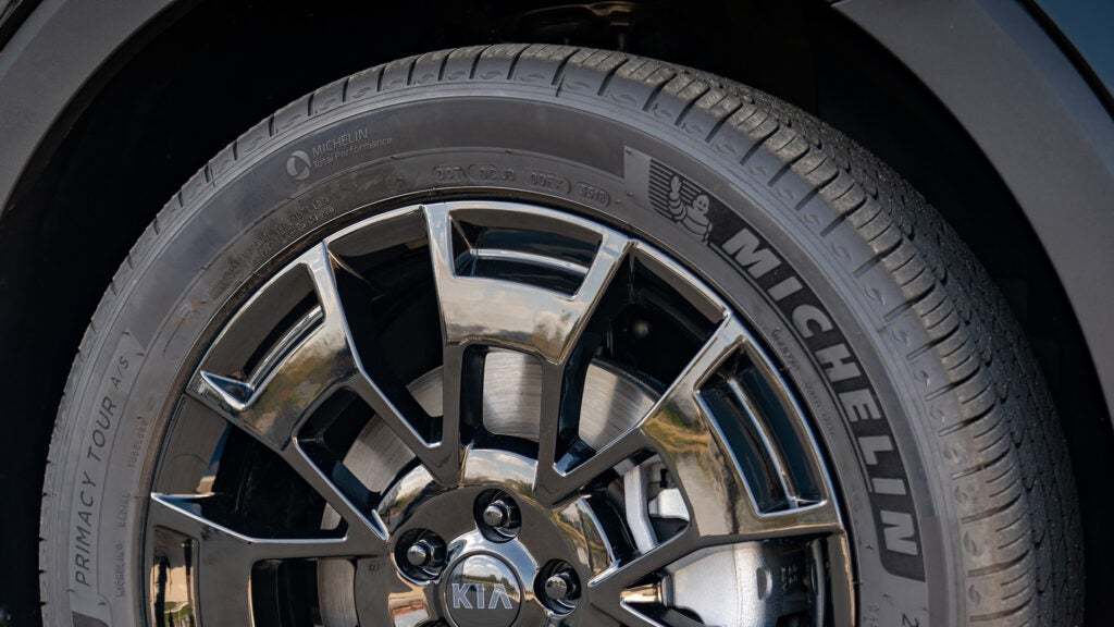 A close-up of a tire sidewall on a Kia Telluride.