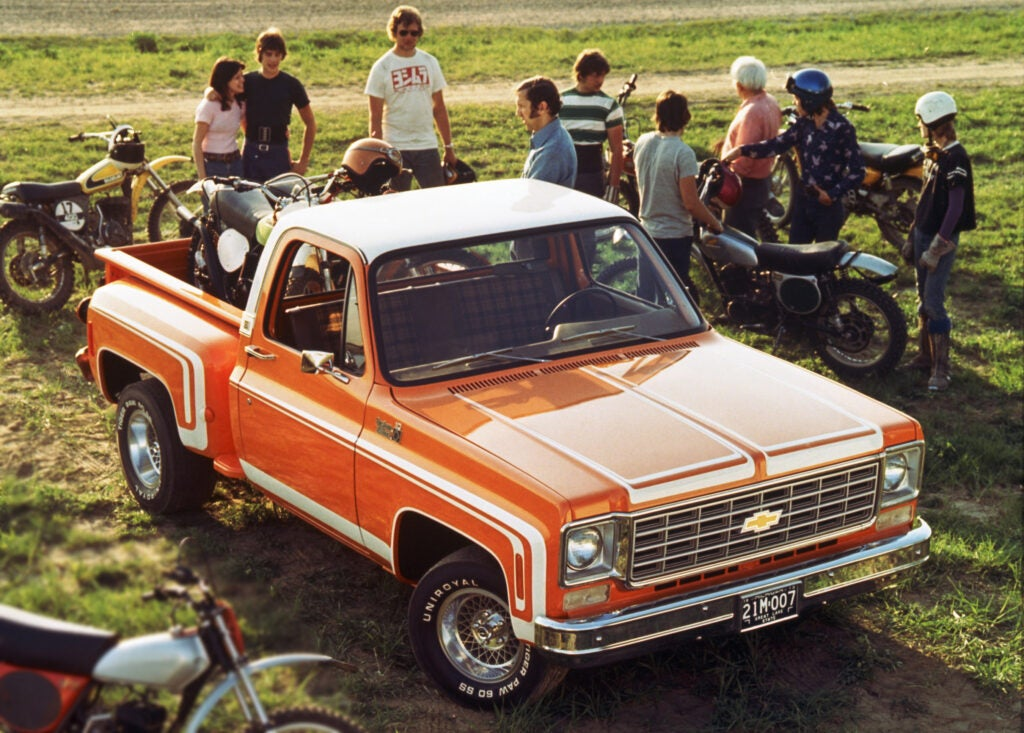 It Doesn't Get More 1970 Something Than an Orange Stepside Pickup Truck