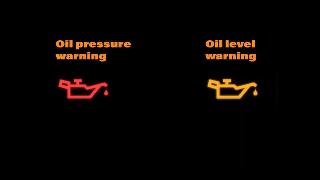 An image of two oil pressure warning lights, one in red and one in amber.