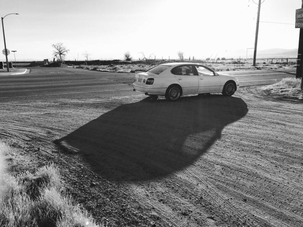 Black and white photo of a 1999 Lexus GS400
