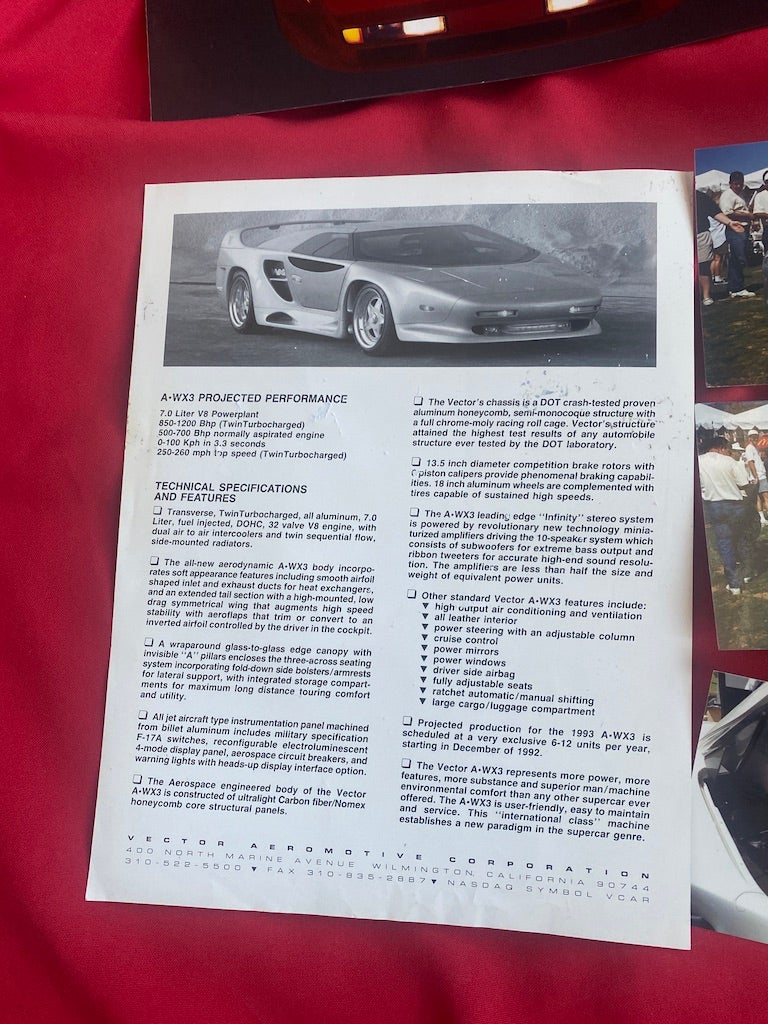 This Vector W8 Brochure Is a Cool Artifact From a Wild Moment American in Supercar History