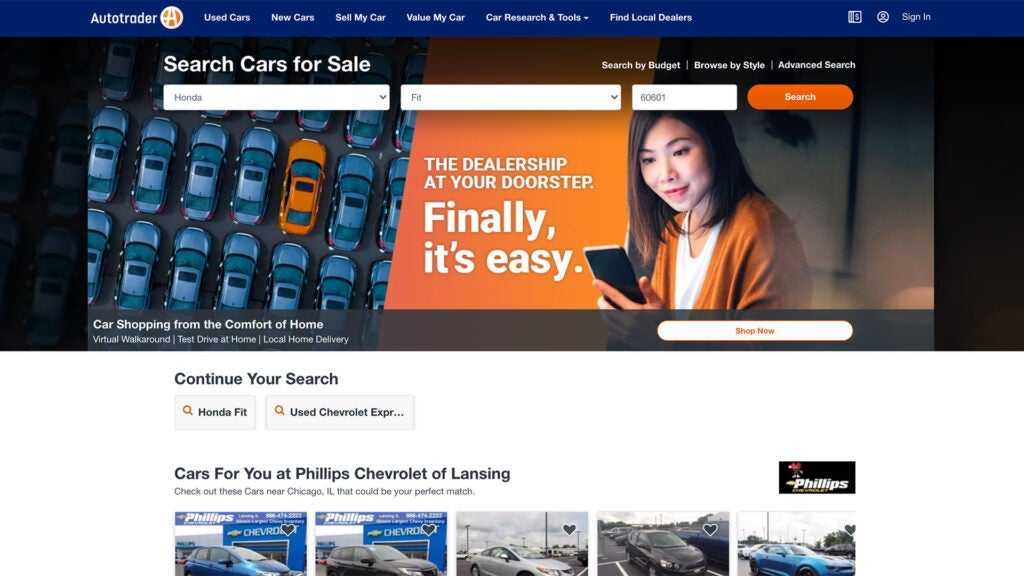 The Autotrader.com homepage.