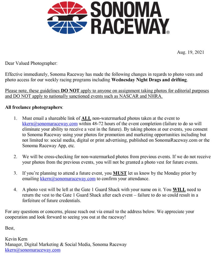 Sonoma Raceway Facing Righteous Backlash for Trying To Rob Amateur Photographers