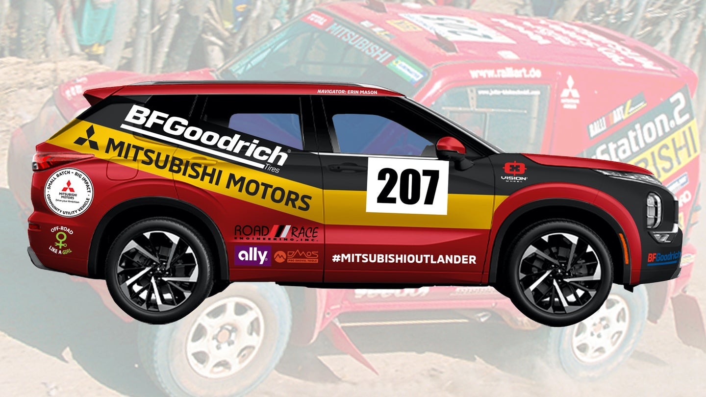 Mitsubishi's rally livery is red with a black and yellow stripe down the side.