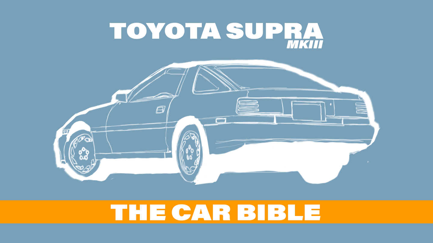 The third-gen Supra is a very wedge-shaped car, triangular, with a removable center roof section.