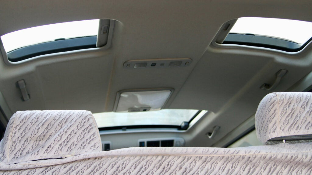 The roof of the Toyota HiAce features multiple sunrooves.