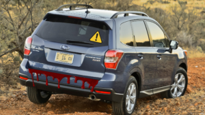 Forester With Bloody hatch and caution sign