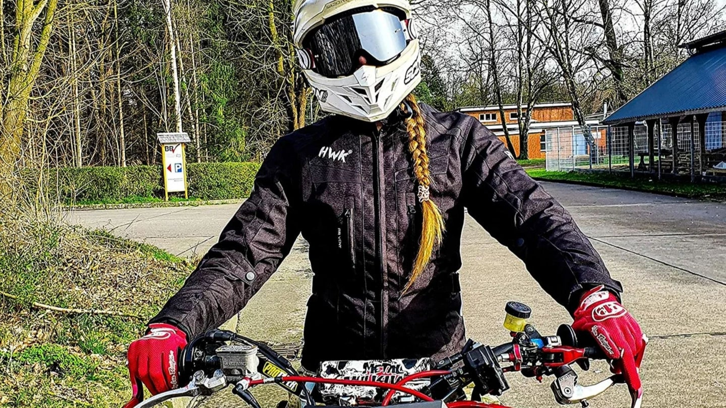 A motorcyclist wearing motorcycle jacket