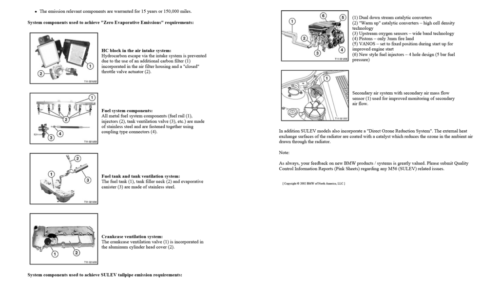 Technical information from BMW about the 325i SULEV.