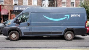 A Ram Amazon Prime delivery van on the streets of NYC.