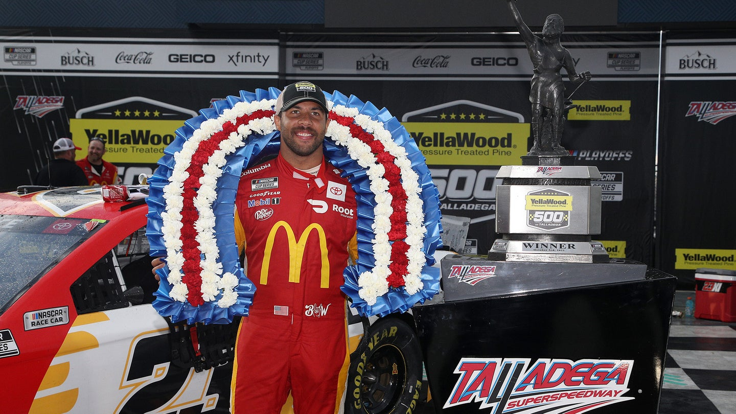 Bubba Wallace Standing on the Podium