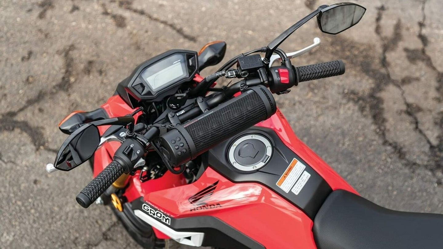 Red motorcycle with motorcycle speakers