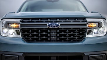 A close-up of the front end of a Ford Maverick pickup truck.