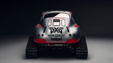 A Porsche 356 on tracks and skis.
