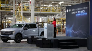 A Ford F-150 Lightning EV pickup truck in the factory.